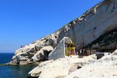 Ropeway και grottoes σε Rosh Haikra Στοκ εικόνα με δικαίωμα ελεύθερης χρήσης