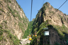 Ropeway. The landscape of Longqing canyon in Beijing Royalty Free Stock Photo