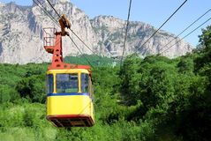 Ropeway. Mountain forest very height summer ropeway Royalty Free Stock Photo
