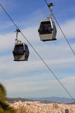 Ropeway in Barcelona, Spain. Ropeway on background of the panoramic view of Barcelona, Spain Royalty Free Stock Photography