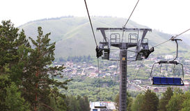 Ropeway. Beaver log.City Krasnoyarsk Royalty Free Stock Photo