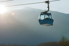 Ropeway and cable car transport system for skiers Royalty Free Stock Photo