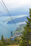 Ropeway carriage to herzogstand mountain, upper bavaria. Ropeway to herzogstand mountain, lake walchensee, upper bavaria Royalty Free Stock Photography