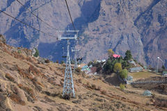 Ropeway de hillstation d'Auli photos stock