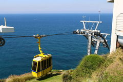 Ropeway and grottoes in Rosh Haikra Stock Photos
