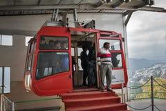 Ropeway kabina w mieście Gangtok fotografia stock