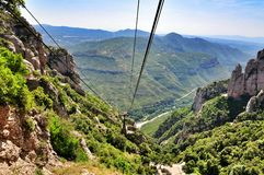Ropeway on mount Montserrat Stock Images