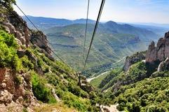Ropeway on mount Montserrat Stock Images