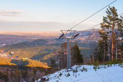 Ropeway at mountain landscape Royalty Free Stock Photography