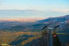 Ropeway at mountain landscape Royalty Free Stock Photos