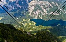 Ropeway between mountain Vogel and lake Bohinj Royalty Free Stock Image