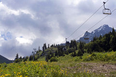 Ropeway in mountains Royalty Free Stock Images