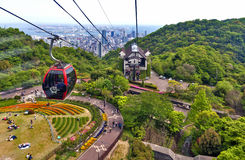 Ropeway a Nunobiki Herb Garden sul supporto Rokko a Kobe, Giappone Fotografie Stock