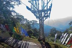 Ropeway på Namchi, Sikkim vid Sikkim turism, Indien Arkivfoto