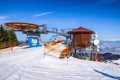 Ropeway at resort Malino Brdo, Slovakia. RUZOMBEROK, SLOVAKIA - FEBRUARY 11: Cableway in Ski resort malino Brdo at great fatra mountains on fabruary 11, 2017 in Stock Images