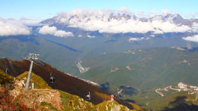 Ropeway on Roza Peak. Sochi, Krasnodar Krai, Russia. The mountain resort of Rosa Khutor is located in the valley of the Mzymta River, at the bottom of the stock footage