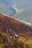 Ropeway on Roza Peak and valley of Mzymta River. Sochi, Caucasus, Russia Royalty Free Stock Photography