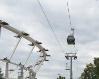 Ropeway in Silesian Park. Ropeway in Silesian park with Stadium under construction. Poland (Chorzów Stock Images