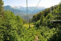Ropeway in Sochi mountains Stock Photos