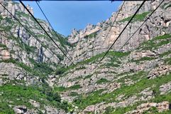 Ropeway station on mountains Montserrat Stock Images