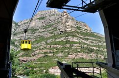 Ropeway station on mountains Montserrat Stock Image
