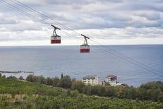 Ropeway sul puntello del Mar Nero in Crimea Immagine Stock