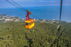 The ropeway to the Ai-Petri mountain from the village of Miskhor. Big Yalta, Crimea, Ukraine. May 2008 Stock Images