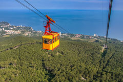 The ropeway to the Ai-Petri mountain from the village of Miskhor. Big Yalta, Crimea, Ukraine. May 2008 Royalty Free Stock Image