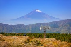 Ropeway to the Mount Fuji. An active volcano and the highest mountain in Japan Royalty Free Stock Photos