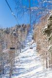 Ropeway to mountain Tserkovka in  the resort of Belokurikha, Altai. Russia Royalty Free Stock Image