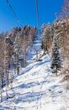 Ropeway to mountain Tserkovka in  the resort of Belokurikha, Altai. Russia Stock Photography