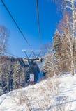 Ropeway to mountain Tserkovka in  the resort of Belokurikha, Altai. Russia Stock Image