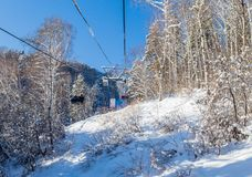 Ropeway to mountain Tserkovka in  the resort of Belokurikha, Altai. Russia Stock Photo