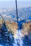 Ropeway to mountain Tserkovka in  the resort of Belokurikha. Altai, Russia Royalty Free Stock Photography