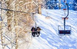 Ropeway to mountain Tserkovka in  the resort of Belokurikha. Altai, Russia Royalty Free Stock Photos