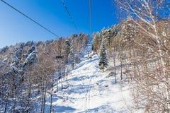 Ropeway to mountain Tserkovka in  the resort of Belokurikha, Altai. Russia Royalty Free Stock Photography