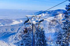 Ropeway to mountain Tserkovka in  the resort of Belokurikha. Altai, Russia Stock Image