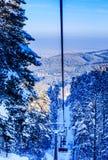 Ropeway to mountain Tserkovka in  the resort of Belokurikha. Altai, Russia Stock Photos
