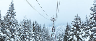 Ropeway in winter at Zao mountain Stock Images