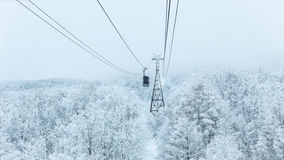 Ropeway in winter at Zao mountain Stock Photo