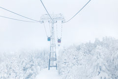 Ropeway in winter at Zao mountain Royalty Free Stock Image