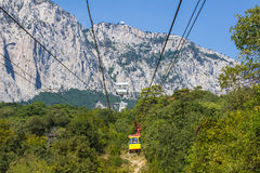 Ropeway in Yalta leading to the Ai-Petri mountain. Ropeway in Yalta leading to the top of Ai-Petri mountain, Crimea, Ukraine stock photography