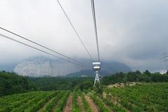 Ropeway to the top of Ai-Petri mountain, Crimea. Ropeway in Yalta leading to the top of Ai-Petri mountain, Crimea, Ukraine royalty free stock photo