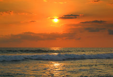 Ropical sea sunset and waves Royalty Free Stock Image
