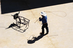 Roping practice. A young cowboy practicing his roping skills Stock Images