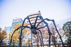 "Roppongi Hills. Tokyo, Japan - November 30, 2018: A massive sculpture called ""Maman"" means ""mother"" in French, were set in front of Mori stock images"