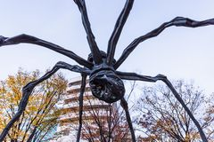 "Roppongi Hills. Tokyo, Japan - November 30, 2018: A massive sculpture called ""Maman"" means ""mother"" in French, were set in front of Mori royalty free stock photos"