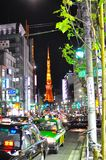 Roppongi , Tokyo, Japan. Roppongi is known as the centre of nightlife for foreigners in Tokyo. The Tokyo Tower can be seen in the background. The picture shows royalty free stock images