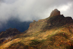 Roque Bentayga, landmark of Gran Canaria Stock Photo