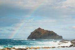 Roque de Garachico is a small island in Tenerife near Garachico stock photo